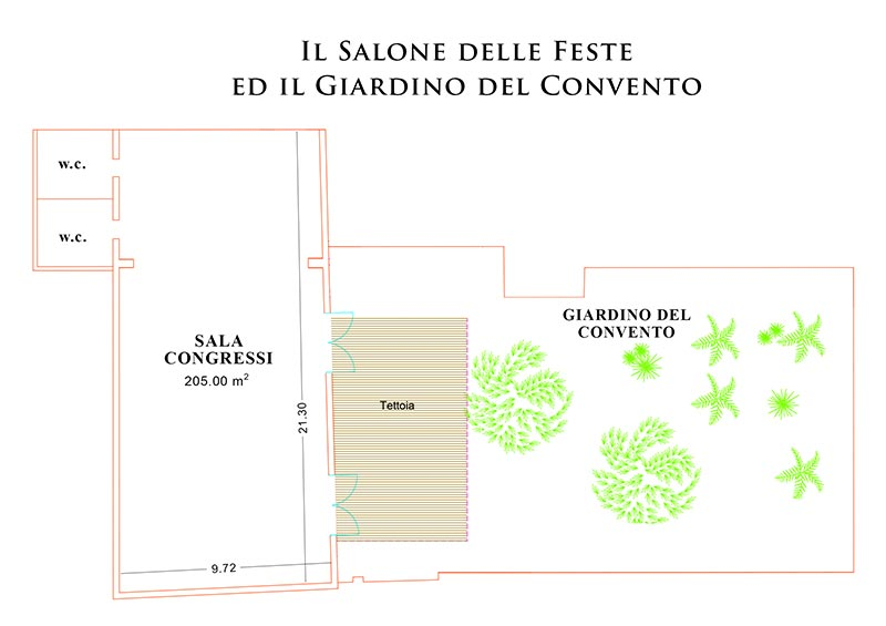 Piantina Salone delle Feste Torre Del Parco